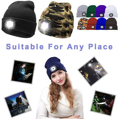 LED Beanie Hat W/USB Rechargeable Battery Unisex High Powered Head Lamp Light T1