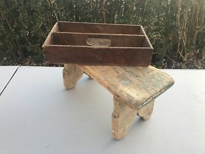 Primitive Antique Late 19th Century Wood Cutlery Tray & Mortised Miniature Bench