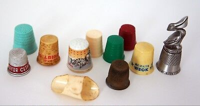Lot of 11 Sewing Thimbles - Advertising, Vintage, Metal, Porcelain, Celluoloid
