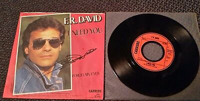 "F. R. DAVID: I Need You - 7"" Single 1983, Coverhülle SIGNIERT!"