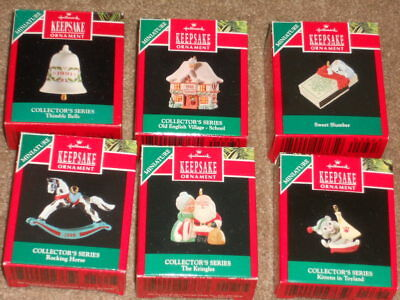 Lot of 6 Miniature Hallmark Keepsake Ornaments All in Original Boxes 1990-91