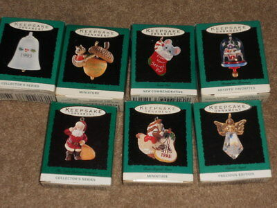 Lot of 7 Miniature Hallmark Keepsake Ornaments 6-1993 & 1-1995 in Boxes