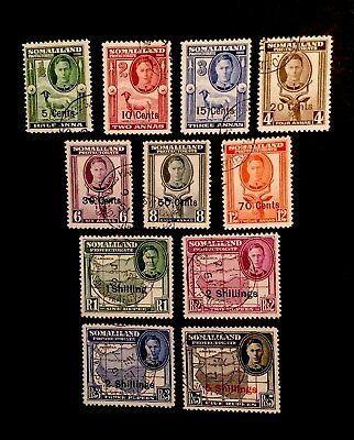 Somaliland Protectorate SG 125/35 1951 KGVI SET OF 11 Fine Used