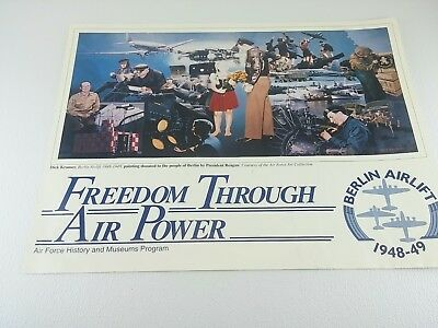 "Vtg Berlin Airlift Poster- Dick Kramer Print 1987 ""Freedom Through Air Power"""