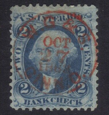 "STAMPS REVENUES R5c SON RED BULLSEYE 1868 BLUE 2 CENT "" BANKCHECK "" REF  59   *"
