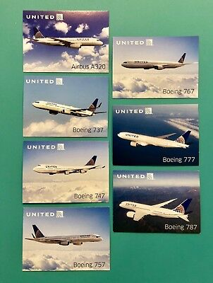 7 United Airlines Collectors Cards