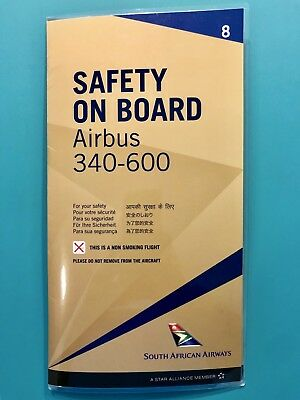 South African Airways Safety Card--Airbus 340-600