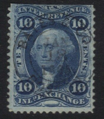 "STAMPS REVENUES R36c RED BULLSEYE 1868 BLUE 10 CENT "" INLAND EXCHANGE"" REF60   *"