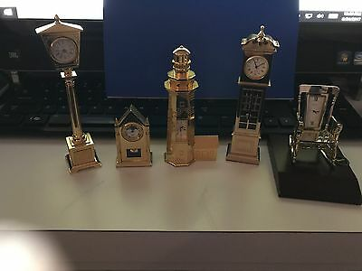 Bulova Lot Of 5 Miniature Collectible Clocks,b0001,b0509,b0010,b0552,b0419No Box