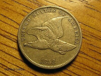 1858 1C Flying Eagle Cent Small Letters Extra Fine XF+ w/ Full Tail Feathers!