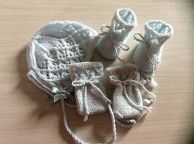 Hand Knitted Baby Bonnet, Mittens And Booties