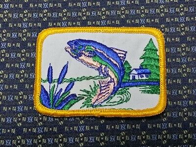 "BASS FISHING (BLUE) Iron or Sew on Patch 3""X2"""