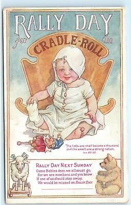 Rally Day Cradle Roll Babies Sunday School Vintage Postcard D74
