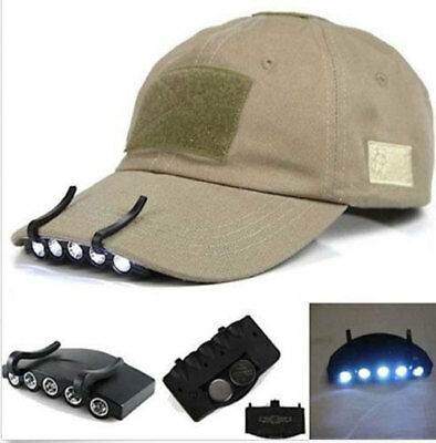 Clip On 5 LED Head Cap Hat Light HeadLamp Torch Fishing Camp Hunting Outdoor top
