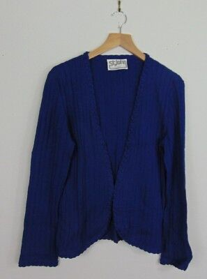 St John Marie Gray Womens S Blue Cardigan Sweater Vintage Long Sleeve Casual