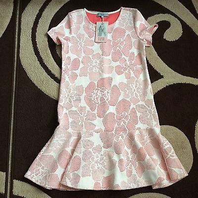 BRAND NEW WITH TAGS Women's Lola Skye Pink And White Floral Dress Size 12
