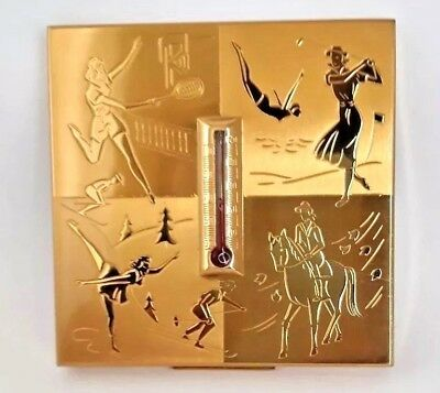 Vintage Rare Elgin American Sports & Thermometer Novelty Powder Compact in Box.