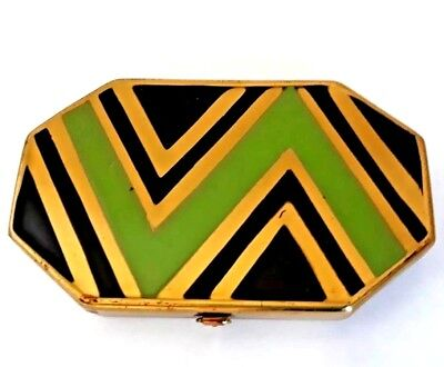 Vintage Art Deco Gold Plate Vanity Compact with Green Geometrical Design. SEE!