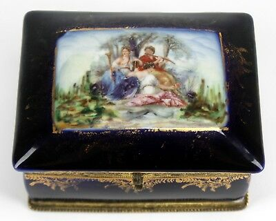 Antique Hand Painted Victorian Porcelain Trinket Jewelry Box W/ Mirror Germany