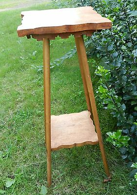 """Antique Vtg Oak Wood Plant Fern Stand Or Parlor Table w Shelf  Size 29 1/2"""" Tall"""