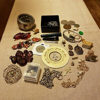 Collectables (Vintage) job lot Coins, Clock, Wade, Jewellery Etc LOW START...