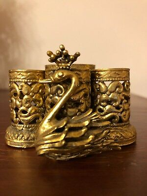 Vintage Stylebuilt Ny Gold Tone Metal Swan With Crown Lipstick Holder 4 Tube