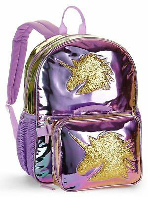 "1343000 Unicorn Metallic Color Change 16"" Backpack With Detachable Lunch Bag"