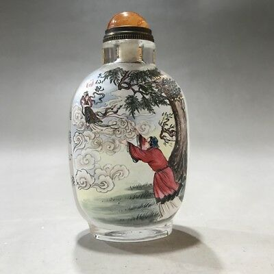 Collecting China's finely rare painting character glass snuff bottles t61