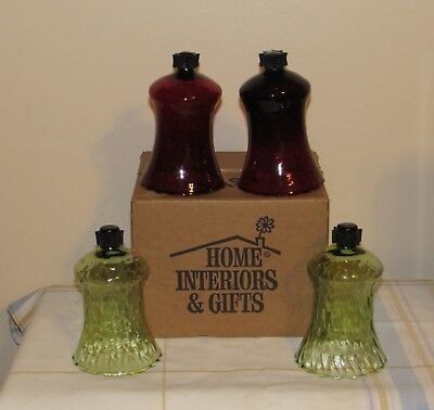 Home Interior & Gifts HOMCO Ruby Red and Green Votive Cups Peg Lites-4 In Box