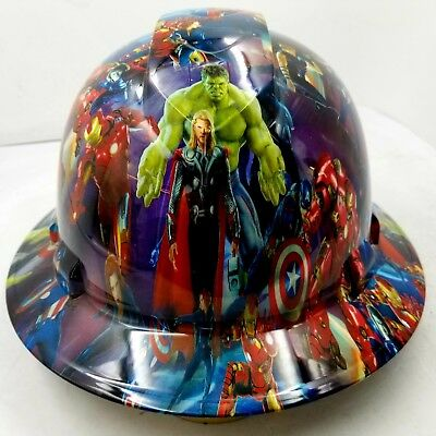 Hard Hat custom hydro dipped , OSHA approved FULL BRIM, COMIC BOOK SUPERHEROS