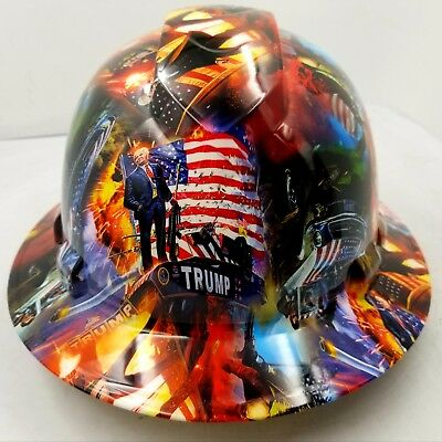 Hard Hat Full Brim Custom hydro dipped DONALD TRUMP MAGA  best price