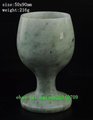 Chinese ancient topaz hand carved 100% jade cup a01