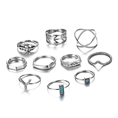 RINHOO FRIENDSHIP 10PCS Bohemian Retro Vintage Crystal Joint Knuckle Ring Sets 3