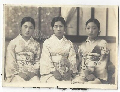 Vintage 1930's Japanese Photograph Ladies Portrait Kimono WW2 Girls Doll Japan