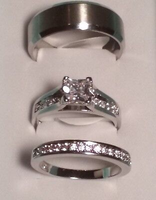 Princess Cut CZ Rings Stainless Steel Wedding Ring Couples Set Women &/or Mens