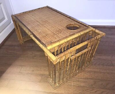Vintage Rattan Bamboo  Wicker Breakfast~In~ Bed Tray With Cup & Newspaper Holder