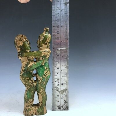Chinese antique ancient jade natural hand-carved Man and woman statue e27