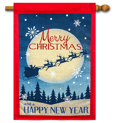 Evergreen Merry Christmas & Happy New Year Double Sided Burlap House Flag