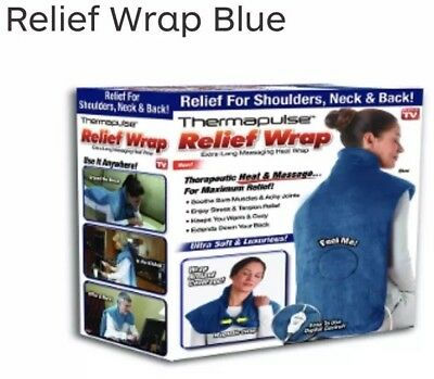 Thermapulse Relief Wrap In Blue Extra-Long Massaging Heat Wrap As Seen On TV