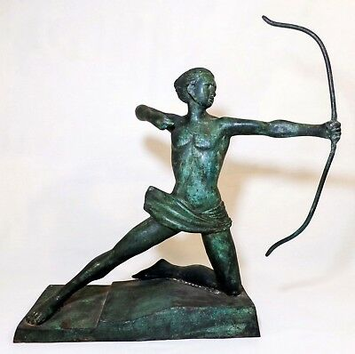 Max Le Verrier (France) Early 20Th C Antique Spelter Roman Goddess Diana Statue