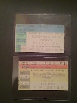 metallica 1998 and 2000 ticket stub