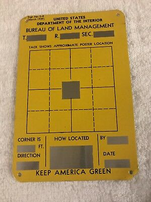 1959 US Forest Service Dept. Location Tin Sign Land Mgt  Keep American Green
