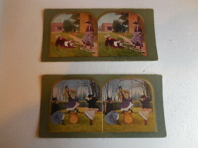 LOT OF TWO ANTIQUE -STEREOVIEWS IMAGES copyright 1898 by T.W. Ingersoll N.4-66