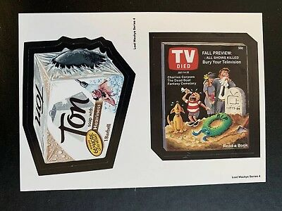 Lost Wacky Packages Series 4 Double Ton / TV DIED TAN BACK #4/5