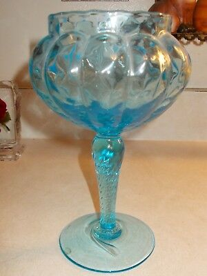 Beautiful Antique/vintage Italian Ice Blue Glass Goblet 7 3/4""