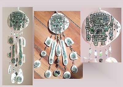 Incan Pottery Wind Chime Chavin Staff Deity Sea Turquoise Ceramic Clay Mobile