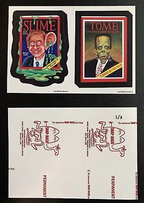 Lost Wacky Packages Series 4 Double RED LUDLOW Slime / Tomb  #1/3