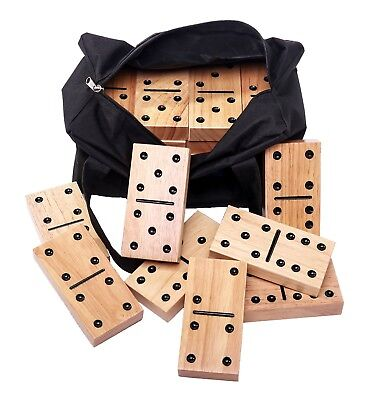 New MMP Living Giant Dominoes w/ Canvas Carrying Tote - 28 Hardwood Tiles