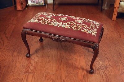 Queen Anne Ottoman, 19th Century English Chippendale Claw & Ball Foot. A Beauty!