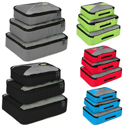 3PCS Travel Packing Organizer Cubes Clothes Storage Bags Nylon Luggage Set Pouch